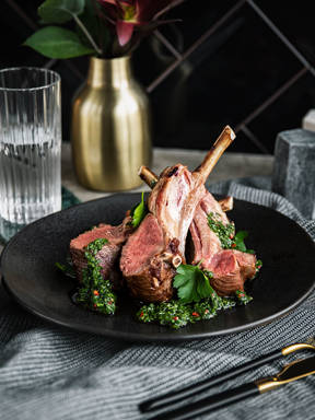 Roast lamb with mint sauce