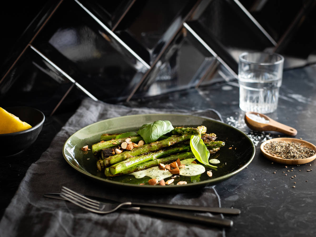 Charred asparagus salad with creamy basil dressing