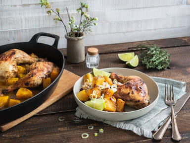 Jerk-style chicken with pineapple and coconut rice