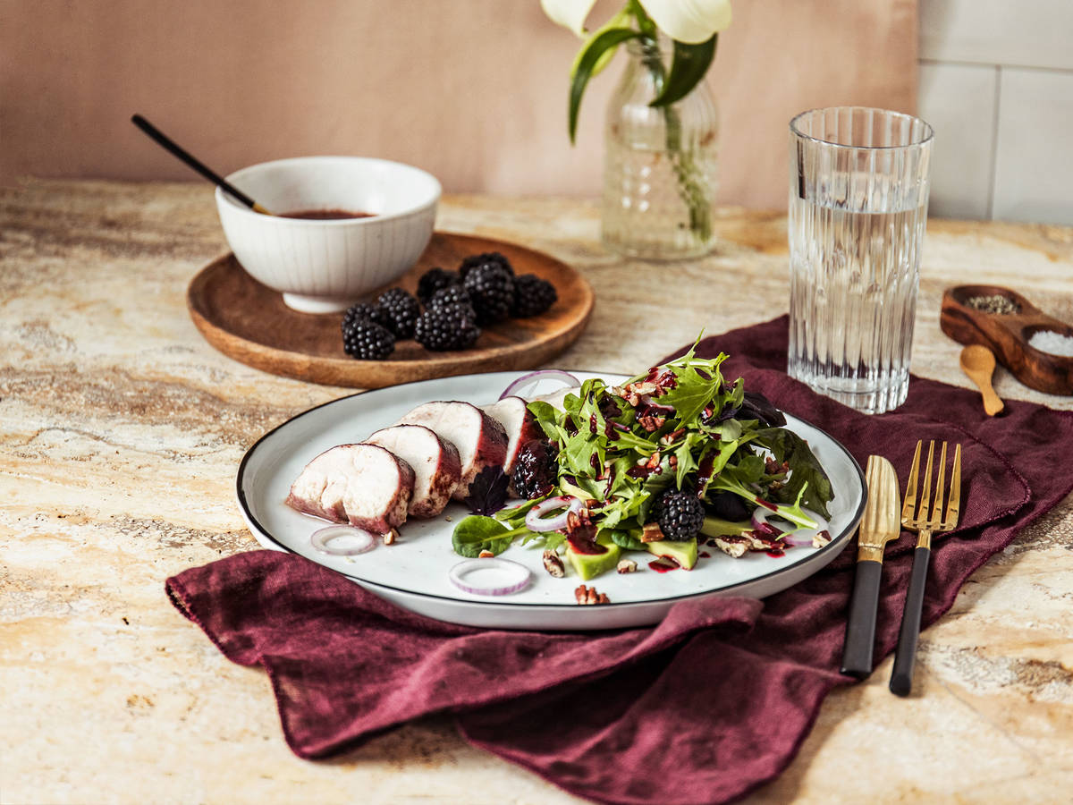 Blackberry-balsamic roasted chicken breasts