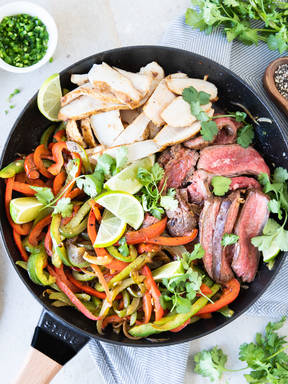 Steak and chicken fajitas with fresh salsa