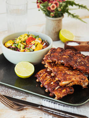 BBQ ribs with charred corn salad