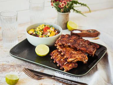 BBQ ribs with charred corn salad