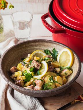Lauwarmer Oktopus-Kartoffel-Salat