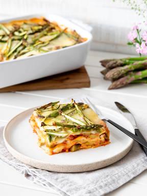 Vegetarische Lasagne mit Spargel