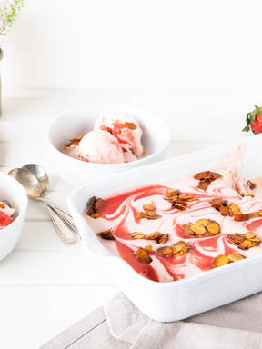 No-churn honey rhubarb ice cream