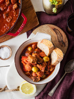 Braised veal with chorizo