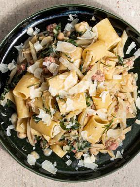 Swiss chard, Italian sausage, and white bean pasta