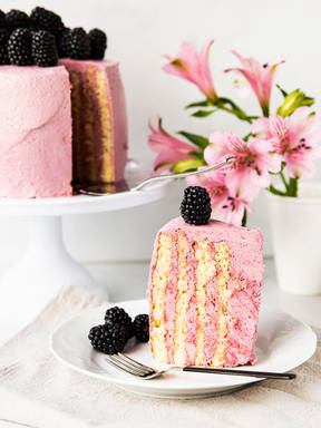 Blackberry stripe cake