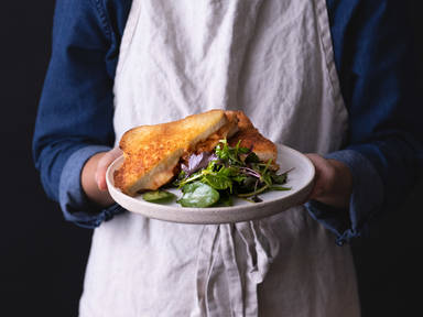5-ingredient kimchi grilled cheese and simple salad