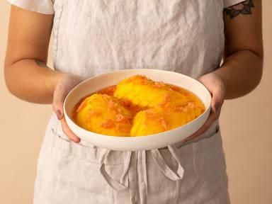 3-ingredient mango cheeks in grapefruit syrup