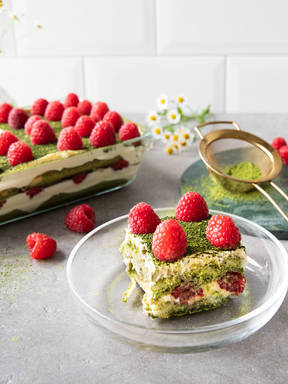 Matcha tiramisu with raspberries
