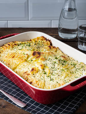 Creamy savoy cabbage, ground beef, and potato gratin