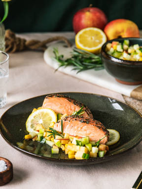 Baked salmon with nectarine salsa