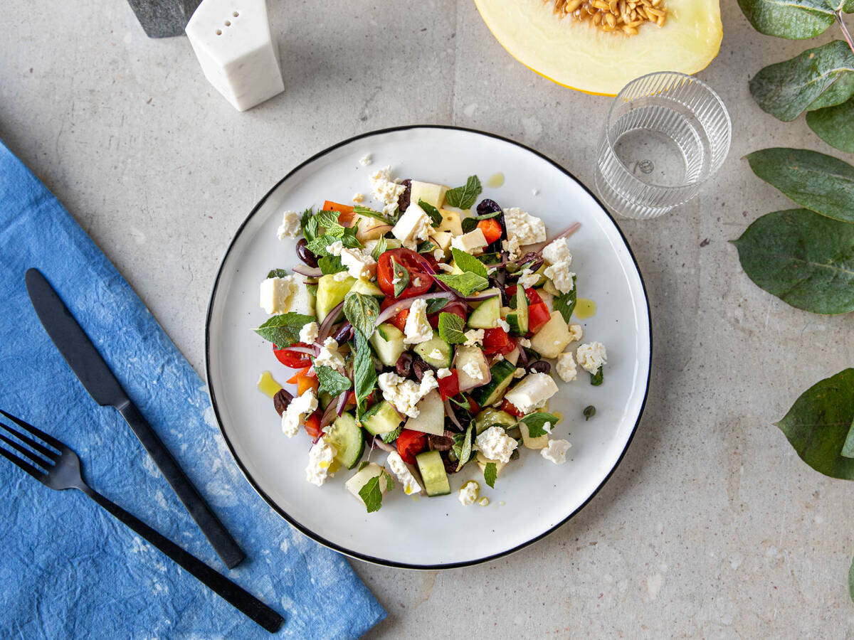 Greek-style salad with honeydew melon