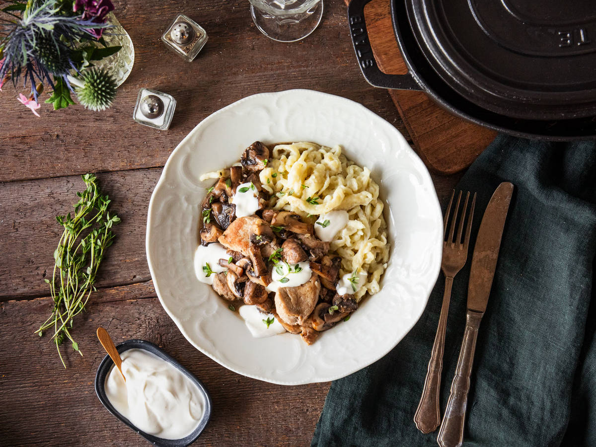 Pork and mushroom ragout with spaetzle