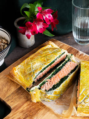 Salmon Wellington with oyster mushrooms