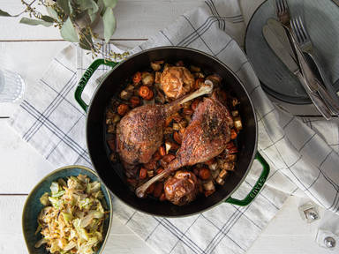 Roasted goose legs with creamy pointed cabbage