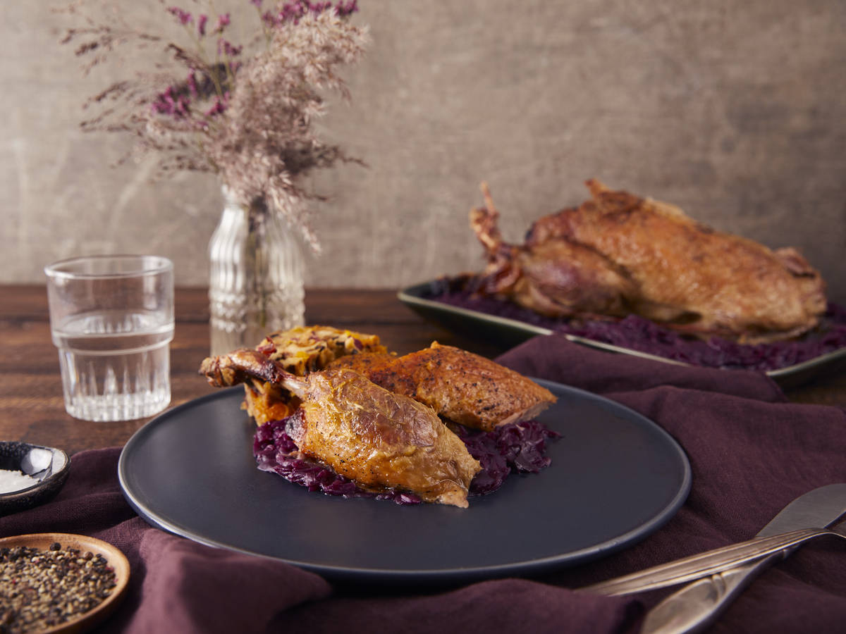 Roast duck with apricot stuffing