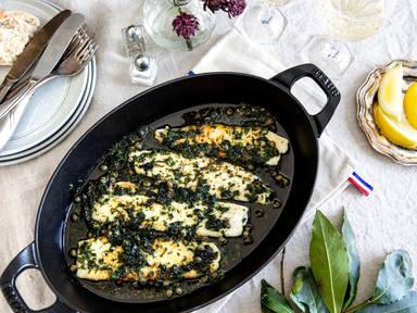 Sole à la meunière with capers and lemon