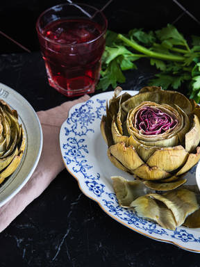 Artichokes with lemony vinaigrette