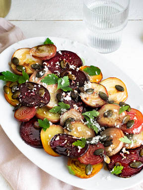 Roasted beet salad with horseradish and pumpkin seeds