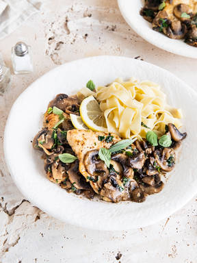 Chicken marsala with fettuccine