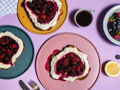 Whipped ricotta and berry brioche toast