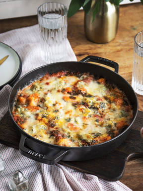 Baked gnocchi with gorgonzola and spinach