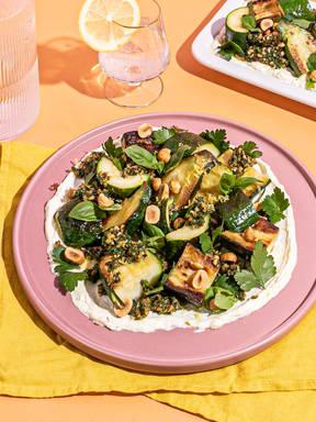Zucchini with lemony ricotta and herby pesto