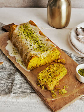 Orange, pistachio, and polenta loaf cake