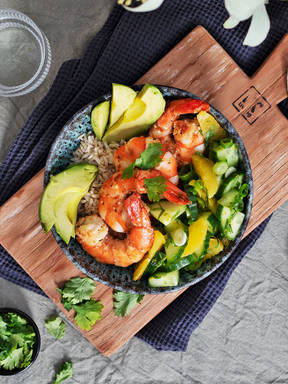 Orange mojo-marinated shrimp rice bowl
