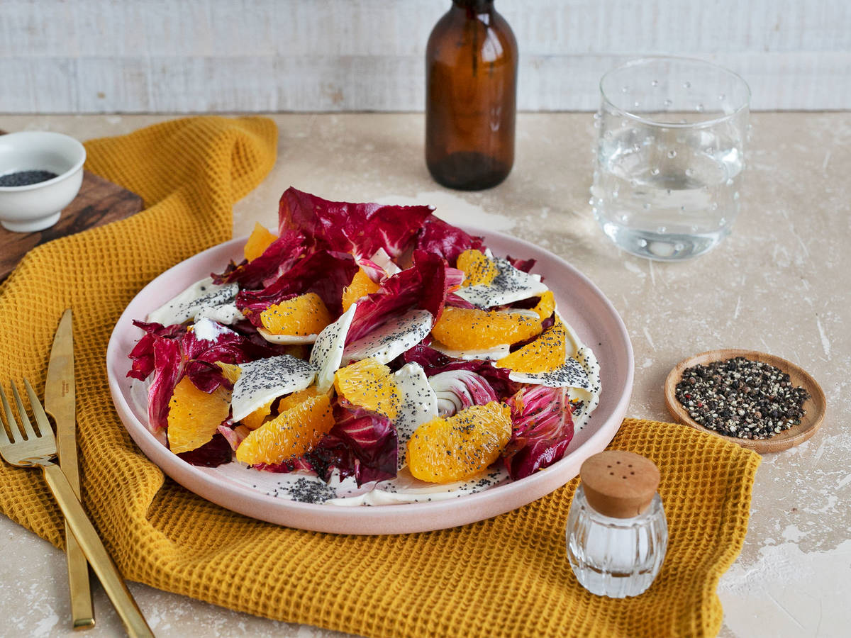 Creamy kohlrabi, orange, and radicchio salad