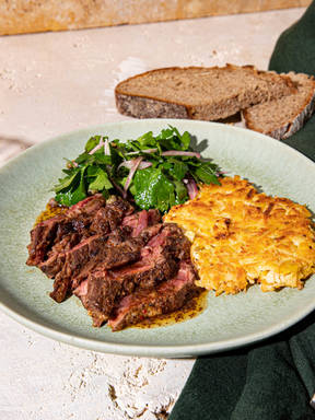 Steak with celery root rösti and kimchi butter