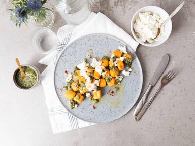 Carrot-ricotta gnocchi with mint pesto and hot honey