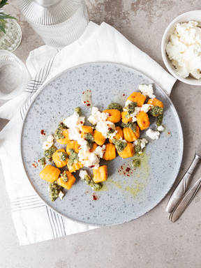 Carrot-ricotta gnocchi with mint pesto and hot honey