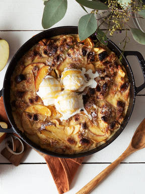 Honeyed apple and brioche bread pudding