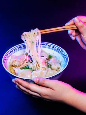 Shrimp and pork wonton noodle soup
