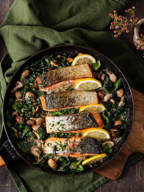 Lemony salmon with creamed spinach and mushrooms