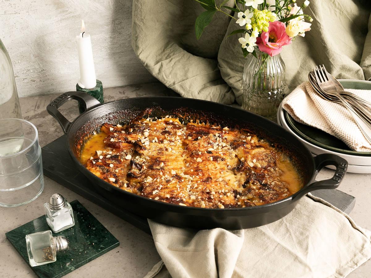 葱香奶油焗双薯
