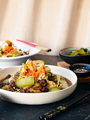 Korean beef stew with napa cabbage and pickles