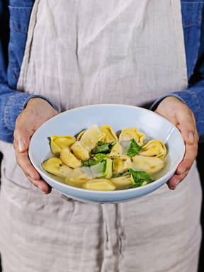 5-ingredient tortellini in brodo with greens