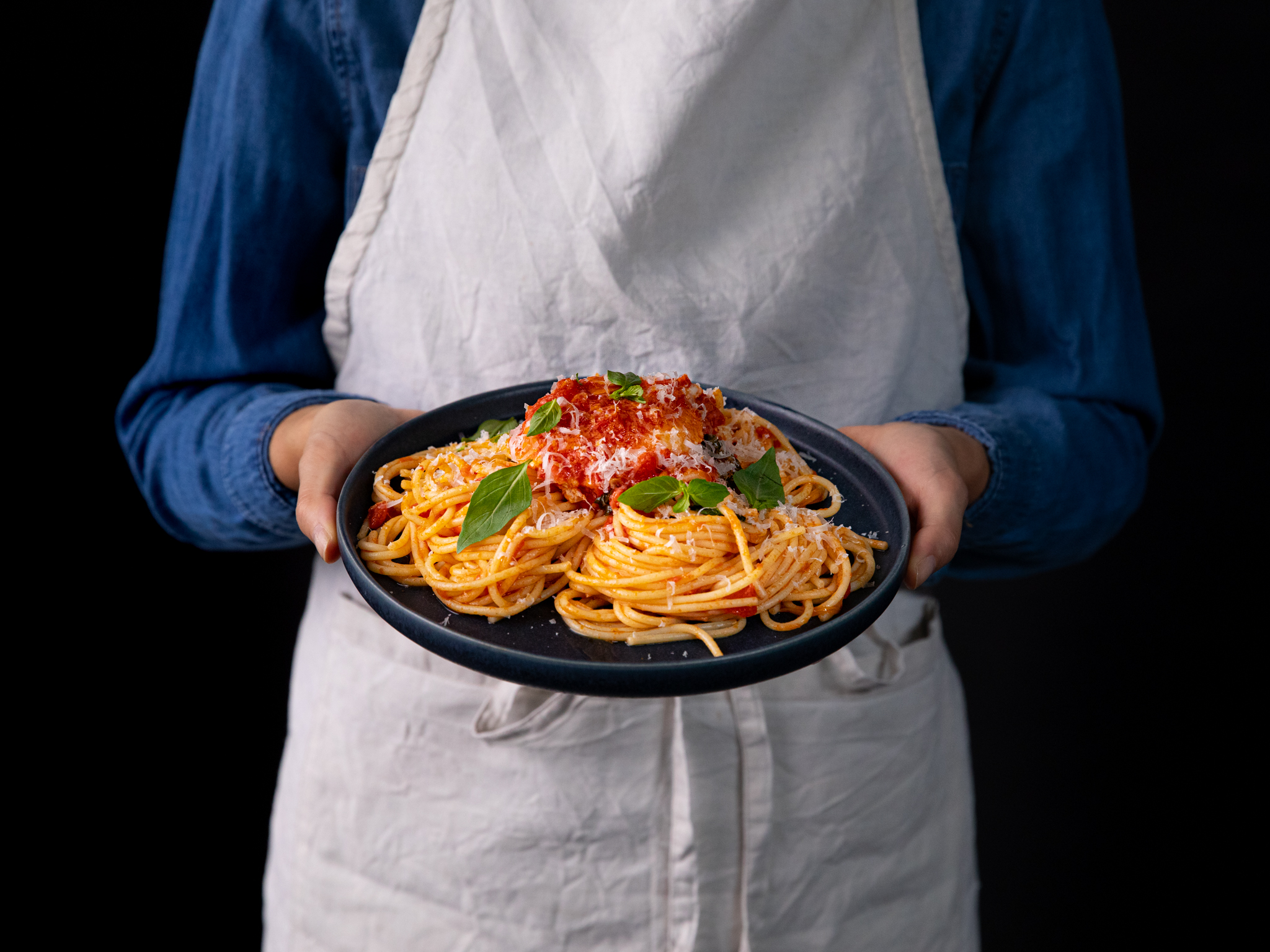 20 ingredient spaghetti with tomato poached eggs