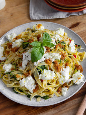 Summer tagliatelle with zucchini and lemony breadcrumbs