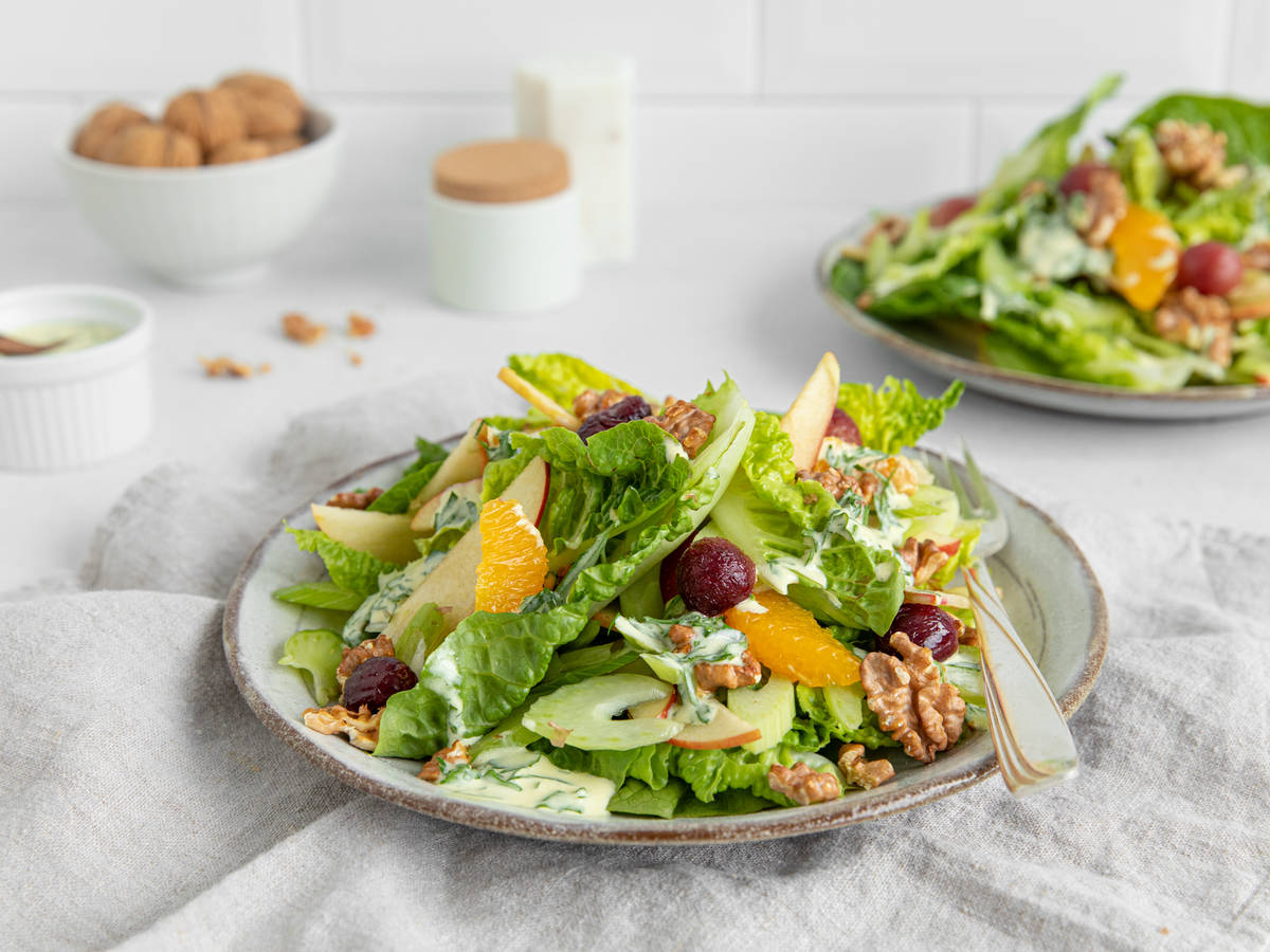 Light Waldorf salad with caramelized grapes