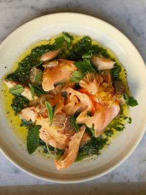 Roasted salmon with wild garlic salsa verde