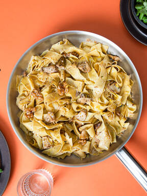 Porcini mushroom pappardelle pasta