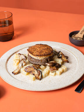 Mustard-crusted filet mignon with porcini mushrooms