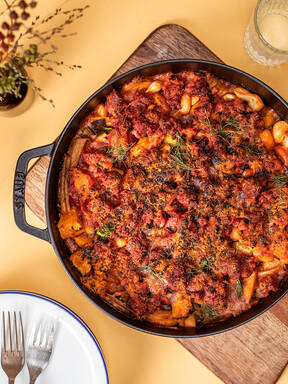 Bean cassoulet with fennel, bacon, and Italian sausage
