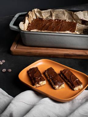 Dark chocolate-covered oat bars